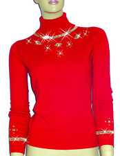 Luxe Oh` Dor 100% Cashmere Roll Neck Pullover Manhattan Luxe Red Gold 38/40 S/M