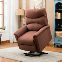 Microfiber Lift Chair Elderly Seat Recliner Sofa Padded Lounge Living Room Brown