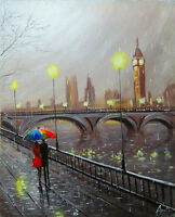 100%Hand-painted Oil Painting  LONDON  Abstract CITYSCAPE 16*20inch Decoration