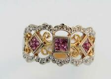 14K White and Yellow Gold, Pink Sapphire and Diamond Ring