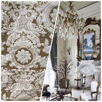 SALE! Designer Damask Satin Fabric- Gold Champagne- Upholstery Brocade