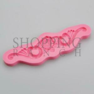 Rose with Leaves & Swirls Beautiful Wedding Silicone Mould Cake Decoration