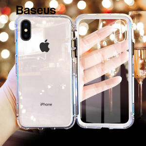 Baseus Metal Magnet Adsorption Front+Back Tempered Glass Case Cover For iPhone X