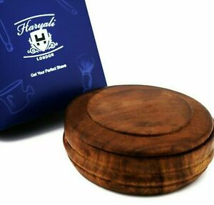 Men's Shaving Bowl to Make Soap Natural Wood with Lid Great Gift for Men HARYALI