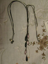 """Accessorize Dark Grey Tone 3 Strand Chain Necklace with Beads - 27""""-29"""" long"""