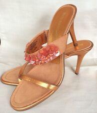 Shoes ENZO ANGIOLINI Slides Heels ORANGE Metallic BEADS SHELLS EABERT 6.5 M