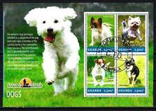 Chiens Ouganda (38) série complète de 4 timbres oblitérés