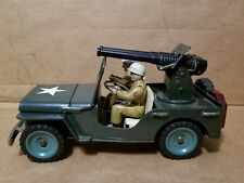 MSK TIN TOY JAPAN Military Willys Jeep with Cannon Friction Car 1950s VERY NICE!
