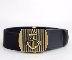 New Gucci Men's Navy Blue Fabric Belt Military Anchor Brass Buckle 375191 4009