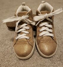 Carter Girl's Gold Sparkly Lace-up High Top Sneaker Shoes Size 10