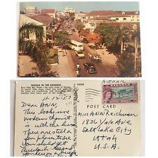Bay Street Postcard Nassau Bahamas 1957 50s Classic Car Taxi Carriage Canceled