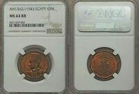 1943 Uncirculated Egypt Bronze Coin Ten Milliemes or One Piastre NGC MS64 RB