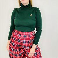 Vintage 90s Lauren Ralph Lauren Emerald Green Long Sleeve Turtleneck Shirt Small