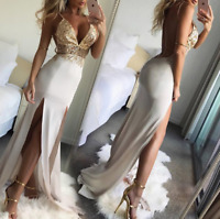 Sexy Women's V-neck Split Evening Cocktail Dress Bodycon Ladies Party Ball Gown