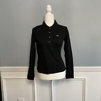 Lacoste Women's Polo Shirt Size 42 Black Long Sleeves Solid Buttons