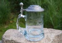 wunderschöner alter Rastal Bierkrug Glaskrug handgeschliffenes Dekor Zinndeckel
