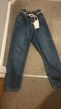 Zara Paper Bag Rope Belt High Waisted Baggy Jeans Size 8 BNWT