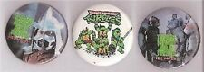 "3 Teenage Mutant Turtles Latch Back 1 1/2"" Pins Mint"