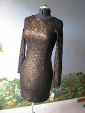 2B Rych Lace sequin Brown Bronze Long Sleeve Cocktail Short Dress Size 8