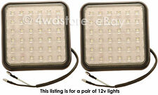 PAIR of QUALITY SQUARE WHITE LED REVERSE WORK LIGHTS, CAMPING BACK-UP LAMPS 12v