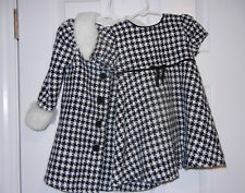 Bonnie Baby 2T Black White Houndstooth Dress Peacoat Coat Winter Christmas Fur