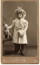 White SPITZ DOG and GIRL CHILD in great fashion WINTER DRESS antique CDV photo
