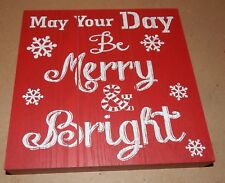 "Christmas Square Wood Sign Decor 9"" x 9"" x 1 5/16"" Red Be Merry & Bright 151W"