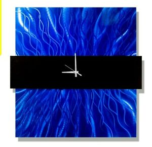 ELECTRIC BLUE Metal Wall Clock Art Modern SCULPTURE Decor SIGNED CLOCK Jon Allen
