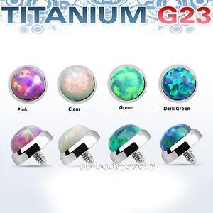 5mm Massiccio G23 Titanio Con Opale Sintetico Internamente Filettato Derma