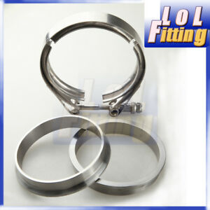 4'' Inch SS Clamp & Mild Steel V-Band Flange Kit For Turbo Exhaust Downpipe
