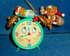 Matrix Industries Santa Bear and Baby Bear on Clock Christmas Ornament