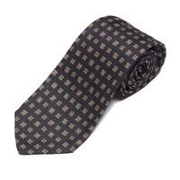Vintage BROOKS BROTHERS Navy Blue Square Maze Prism Cubes Men's Silk Neck Tie
