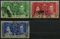 GB.(Hong Kong)>1937>Full Set,Used,pf.11x11.1/2>Coronation George VI & Elizabeth