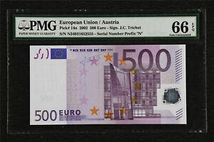 2002 European Union / Austria 500 Euro Pick#14n PMG 66 EPQ Gem UNC