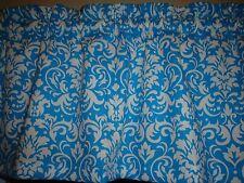 Turquoise Blue White Damask Demask Bedroom Kitchen Bathroom Window Valance Decor