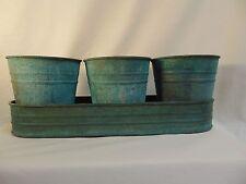 Kitchen Herb Garden Planter Tin Pots Set Of 3 with Tin Tray Plants Flower #1001