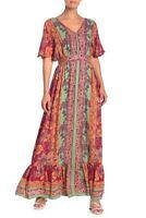 NWT Nostalgia V-Neck Floral boho Summer Maxi Red Flutter Sleeve Dress S/M/L/XL