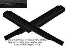 BLACK STITCHING 2X REAR DOOR SILL TRIM SKIN COVERS FITS FORD SIERRA SAPPHIRE