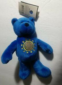"European Union Limited Treasures Euro Bear 2002 NWT 8"" Plush with tag."