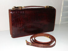 Vintage Brown Genuine Crocodile Skin Clutch Handbag or Shoulder Bag Purse