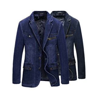 2019 New Spring Men's slim Jeans denim suits jacket Casual Blazer tops jacket