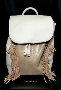 Vera Bradley Fringed Amy Backpack White Gold Metallic w Storage Bag NWT Pristine