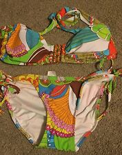 NEW TRINA TURK SANTA CRUZ STRING BIKINI WITH BUCKLE FRONT BANDEAU TOP SIZE 6