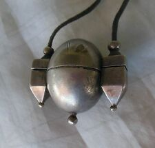 old silver shiva lingam stone holder necklace with lingham 3 x 2 inches India