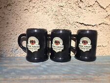 SET OF 3 BACARDI BLACK MINIATURE SHOT MUGS CUPS WITH HANDLES, PLASTIC