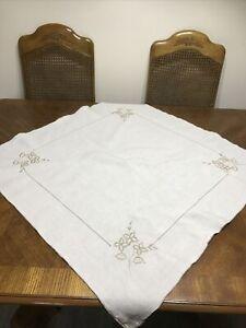 Vintage Tablecloth Cream Brown Floral 85cm Square