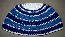Frik Freak Kippah Skull Cap Yarmulke Crochet Colorful Blue Striped Israel 26 cm