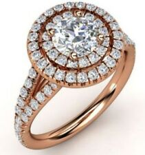 2.10 cts Round Cut Diamond Engagement Anniversary Ring Solid 14k Rose Gold