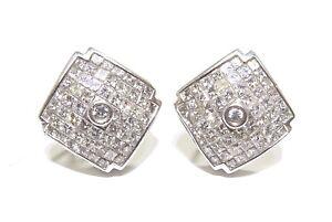 14k White Gold 3.00ct White Princess & Round Cut Diamond Square Earrings