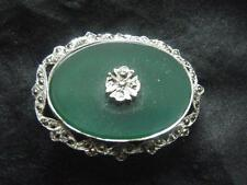 ART DECO STYLE JADE AND MARCASITE BROOCH PIN